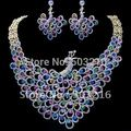 High Quality Austrian Crystal Rhodium Plated Promotion Necklace Earrings Design Peacock Bridal Wedding Jewelry Set