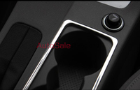 Car Styling Stainless steel matt LHD Console Gear Shift Box Water Cup Holder Cover Trim for Skoda Octavia MK3 A7 2015 2016
