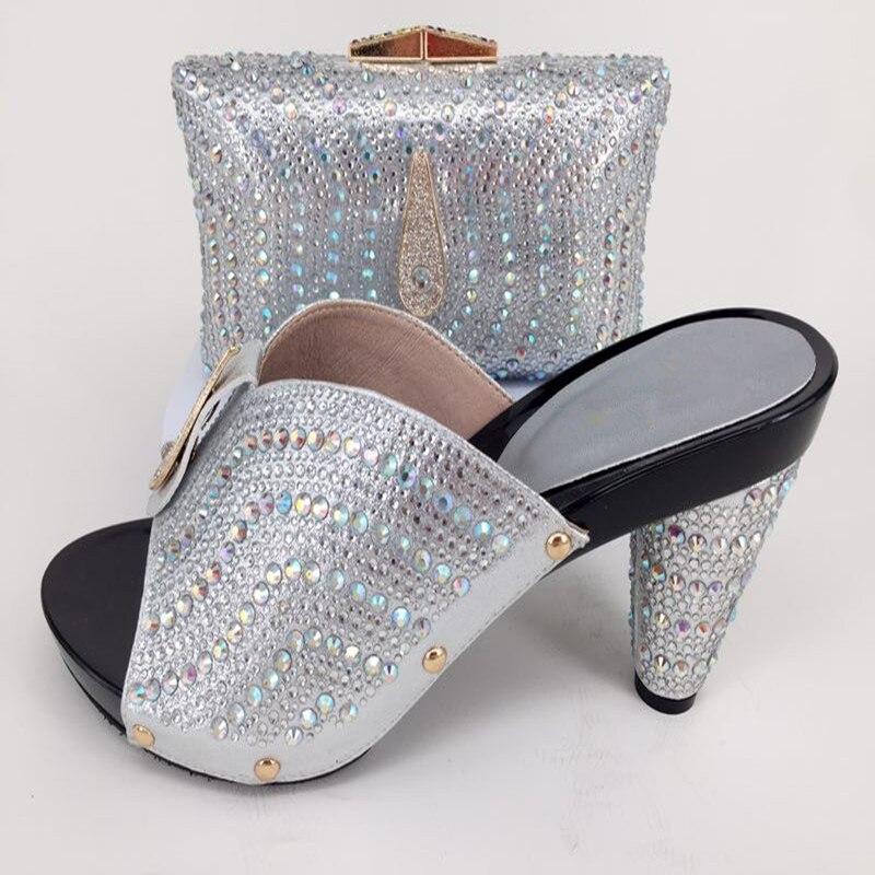 Горячая Распродажа Серебро Высокий каблук туфли-лодочки и вечерняя сумочка комплект приятно соответствия для вечернее платье 228-7 много цве...