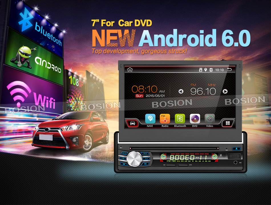 7 Android 6.0 Universal 1 Din Car Audio DVD Player+Radio+GPS Navigation+Autoradio+Stereo+Bluetooth+PC+DVD Automotivo+SD USB R