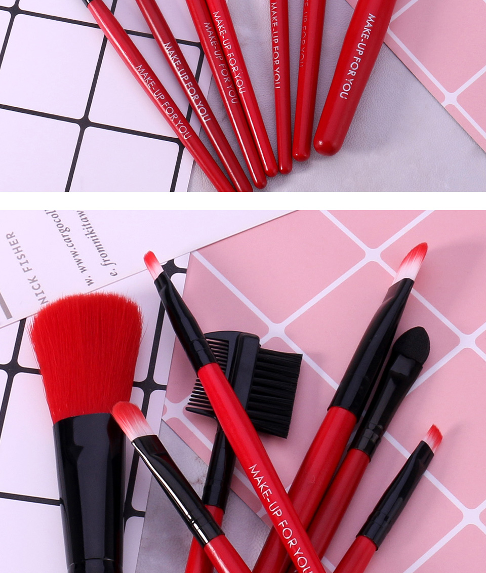 O.TWO.O Makeup Brushes Set 7pcs/lot Soft Synthetic Hair Blush Eyeshadow Lips Make Up Brush With Leather Case For Beginner Brush 17