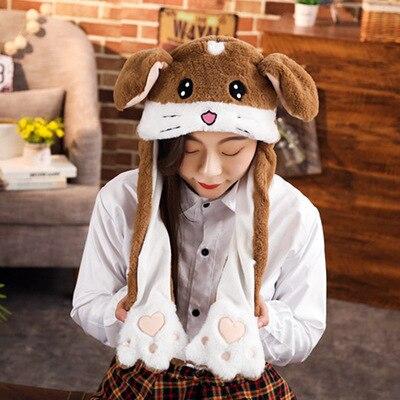 Новинка, Мультяшные шапки с подвижными ушками, милый Игрушечный Кролик, шапка с подушкой безопасности, Kawaii, забавная шапка для девочек, детская плюшевая игрушка, рождественский подарок - Цвет: Brown hamster