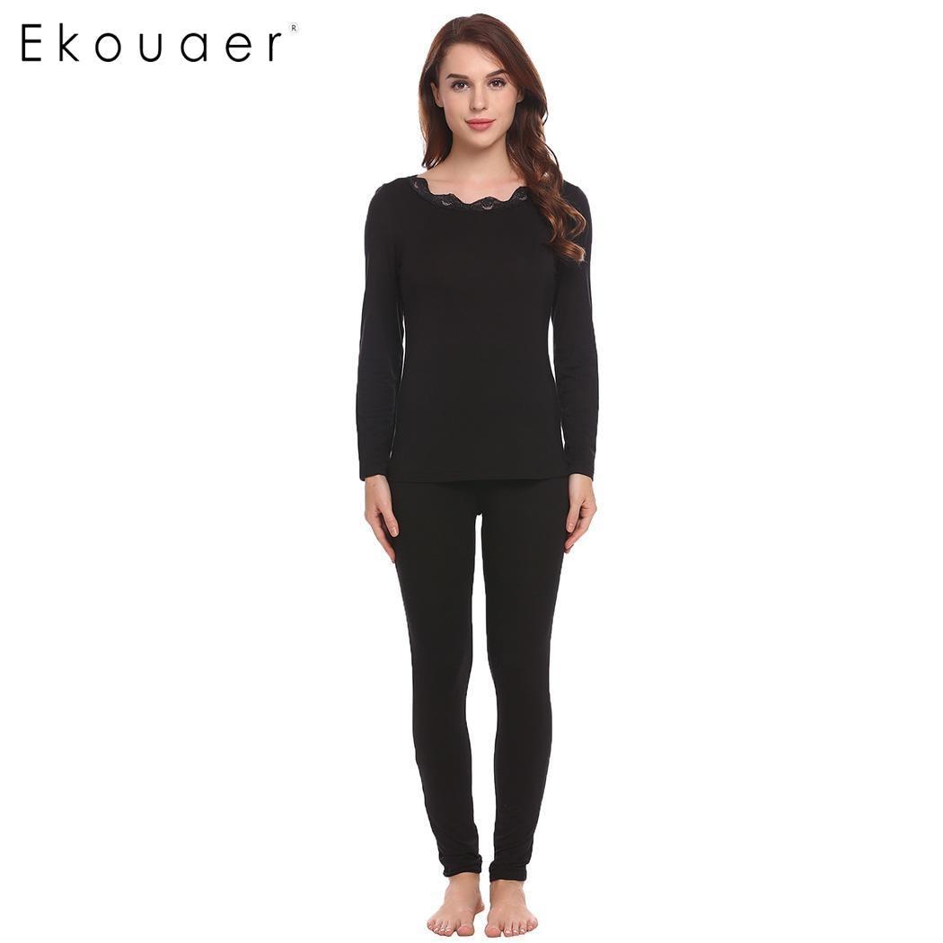 Ekouaer Lace-trimmed Women O-Neck Tops with Elastic Waist Sleepwear   Pajamas     Sets