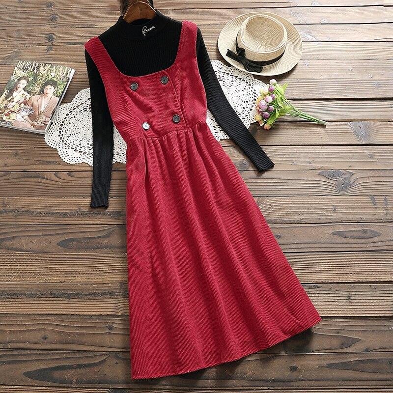 Mori Girl Spring Autumn Women Corduroy Sundress Red Beige Casual Loose Female Vestido Sleeveless Vintage Elegant Long Tank Dress girl