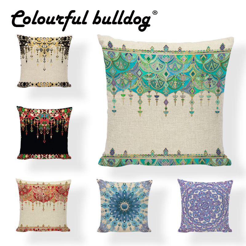 Cushion Cover Vintage Geometric Striped Throw Pillow Case 45*45Cm Rectangle Trigon Home Office Couch Decorate Furniture Ramadan