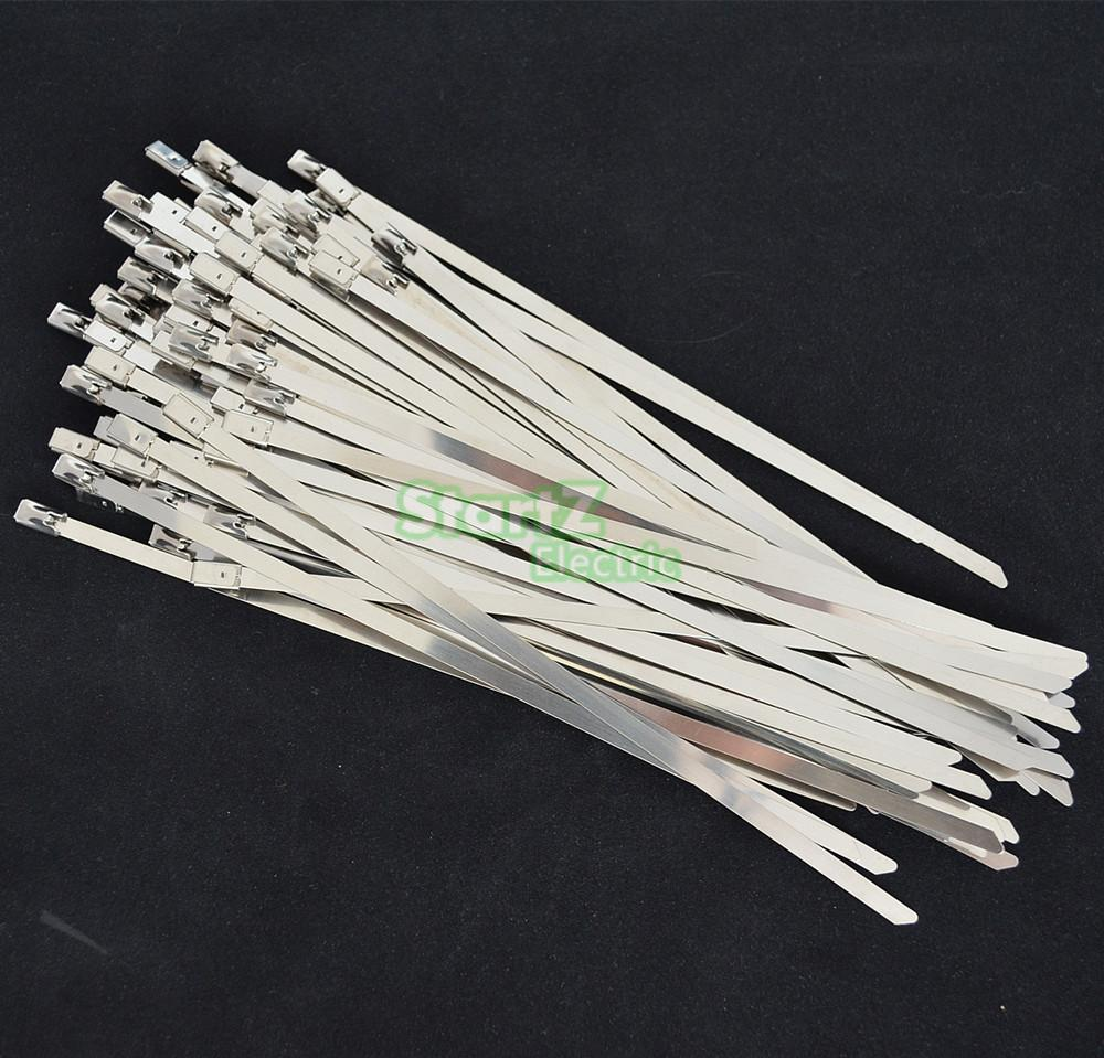 ⊰100 Stks 4.6mm x 200mm Rvs Metalen Kabel Zip Tie Strap Locking ...