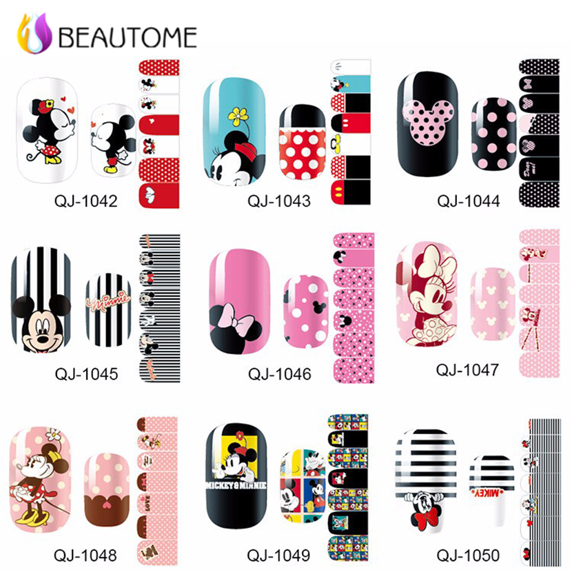 1 Sheets Nail Art Stickers Mickey Minnie Print Nail Tips Full Cover Decoration Decals DIY Manicure Beauty Gift for Lady Girls 2016 2sheets manicure tips beauty purples oil printing 3d diy designs nail art water transfer stickers decals full cover xf1405