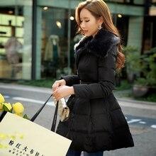 DABUWAWA New 2016 Brand Winter Duck Down Coat Plus Size Slim Waisted Elegant Fur Collar Black Women Skirt Parka Wholesale