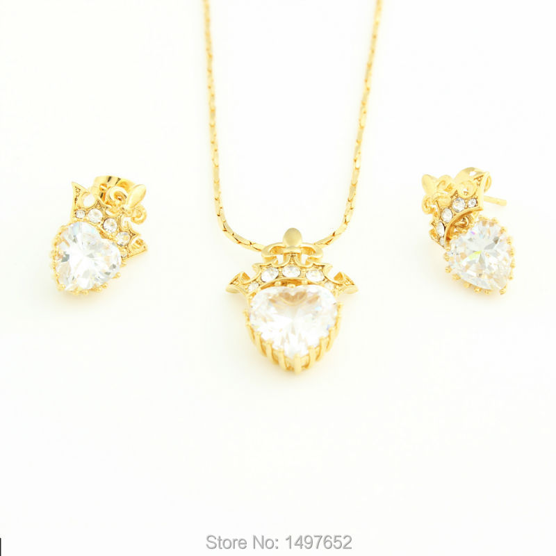 Fashion Jewelry . Gold Color Zircon Crown Pendant Necklace Earrings Wedding Jewelry Sets For Women
