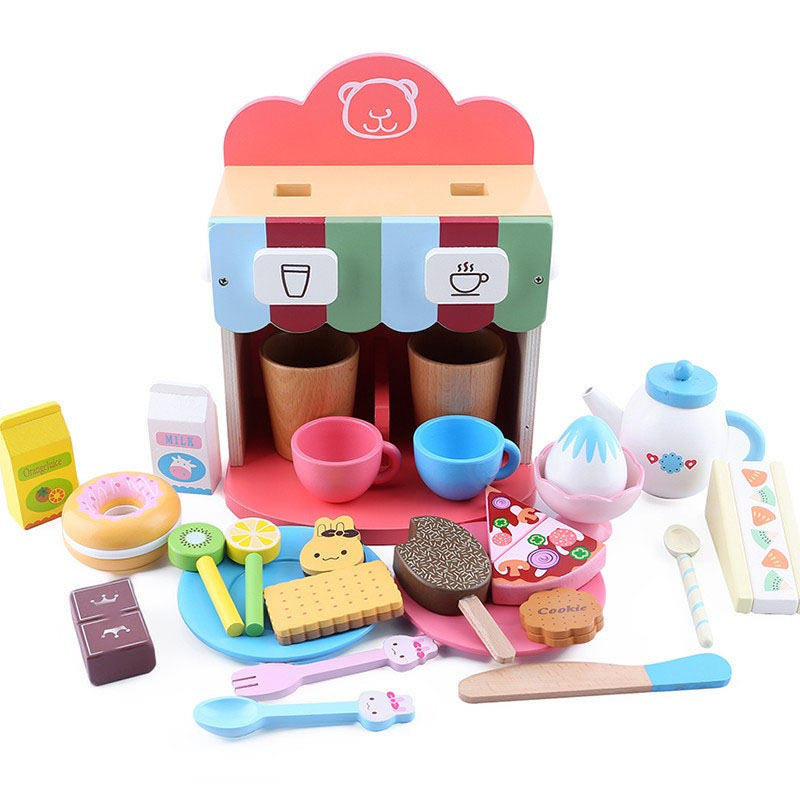 Kids Pretend Toy Wooden Kitchen Coffee Machine Set Baby Wooden Toy Afternoon Coffee Kit With Doughnut Biscuit Sweets Toy Gift