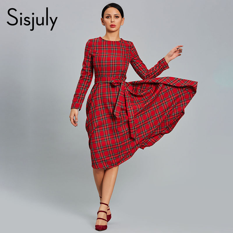 Sisjuly Women Dress Plaid Red Party Dresses Casual O Neck Long Sleeve Patchwork A line Day 2019 Female Thick Vintage Dress Hot