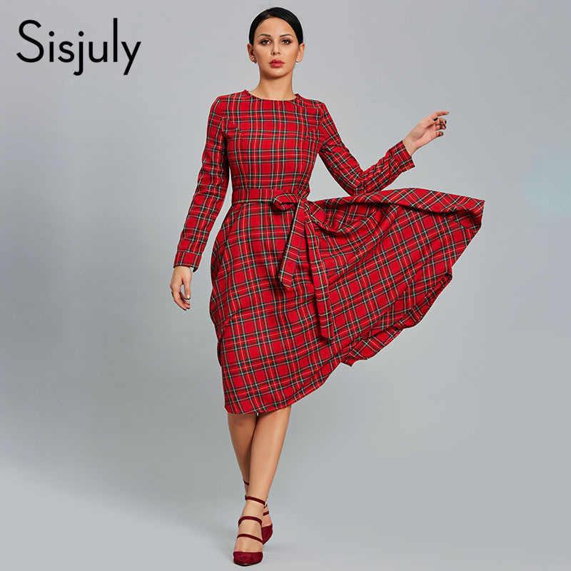 07a81d46197 Sisjuly женское платье в клетку красное платье для вечеринок повседневное с  круглым вырезом и длинными рукавами