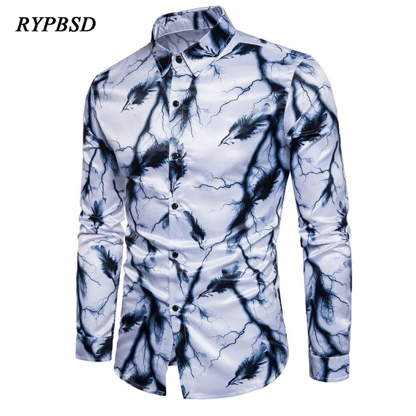 New 3D Printing Shirt Men 2017 Splash-ink Printed Colorful Mens Dress Shirts Brand Desig ...