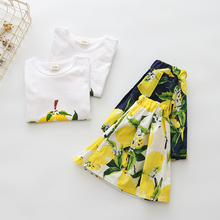 hot deal buy fashion girls clothing sets new summer 2018 short sleeve tops tees + floral skirt 2 pcs suit casual children toddler tshirt gift