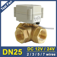 TF25-BH3-C, Brass 1'' (DN25) 3 Way T/L Type Horizontal Actuator Ball Valve DC12/24V 2/3/5/7 Wires For Flow Control tf10 bh3 b brass 3 way t l type 3 8 dn10 horizontal actuator ball valve dc12v 24v 2 3 5 7 wires for water heating