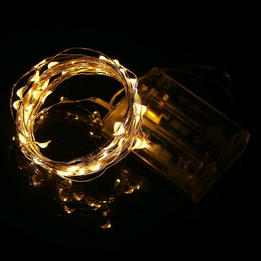 5M 50leds LED String Light Silver Wire DC4.5V 3XAA Batteridriven - Festlig belysning - Foto 3