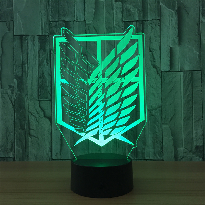 Tobyfancy Attack on Titan Figure Visual Illusion LED Table Lamp Attack on Titan Flag Ary ...