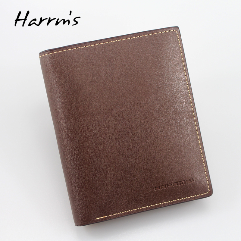 2017 New Harrms brand Men wallets Jean design style coffee color fashion short mens wallet Split leather free shipping