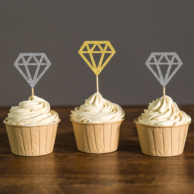 Goldsilver glitter diamond donut cupcake toppers bridal shower goldsilver glitter diamond donut cupcake toppers bridal shower decorations wedding engagement ring topper picks party junglespirit Image collections