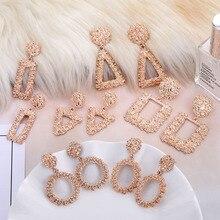 VKME модные геометрические розовое золото Подвесные серьги женские модели Новые Brincos полые металлические очаровательные ювелирные серьги Рождественский подарок