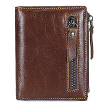 Genuine Leather Business Wallet Mens Credit Card Holder Women Purses Coin Purse Small Portomonee Mannen Walet