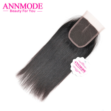 Annmode Peruvian Straight Hair Closure 4×4″ Free shipping Non-remy Human Hair Lace Closure Middle Part 120% Density
