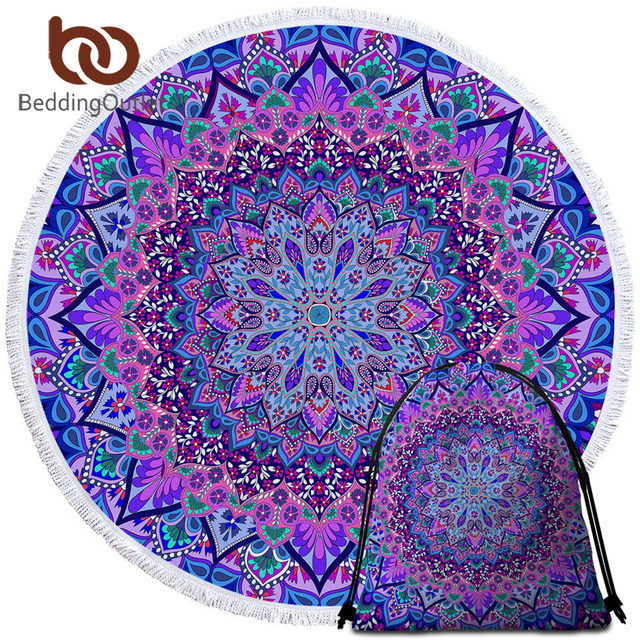 BeddingOutlet Bohemian Round Beach Towel Blue Purple Tassel Tapestry Travel Towel Microfiber Yoga Mat Boho Toalla Blanket 150cm 1