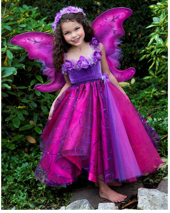 Girl's Pageant Dress 2017 Girls Princess Dresses Halloween Costume Gowns Kids Christmas Velvet party Dress Children wing Dress christmas faux fur fitted velvet short party dress with hat