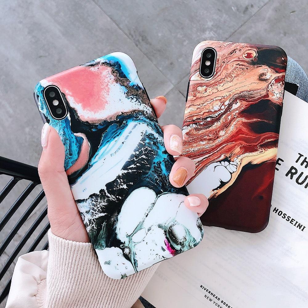 Angepasste Hüllen Fastdeng Bunte Cool Matt Marmor Anti-herbst Weichen Tpu Fall Für Iphone 6 6 S 6 Plus 6 Splus 7 7 Plus 8 8 Plus X Xs Xr Xs Max