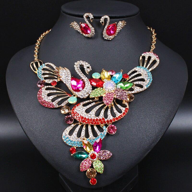 Aliexpress.com : Buy Luxury Swan Indian Brides Crystal ...