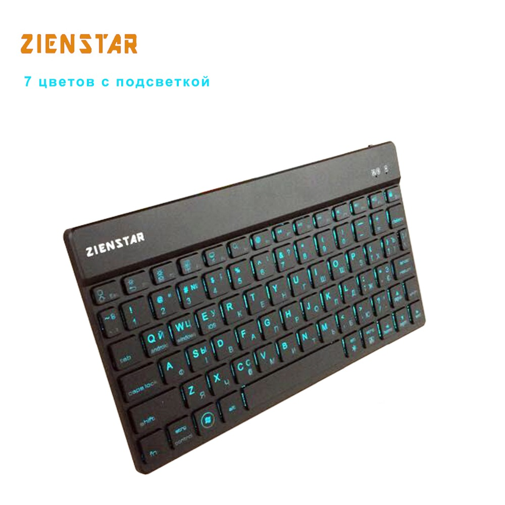 Zienstar High Quality Russian Wireless font b Keyboard b font Bluetooth with 7 Colors Backlit for