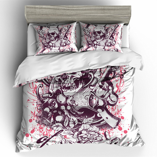 FLOWER SKULL PISTOL BEDDING SETS