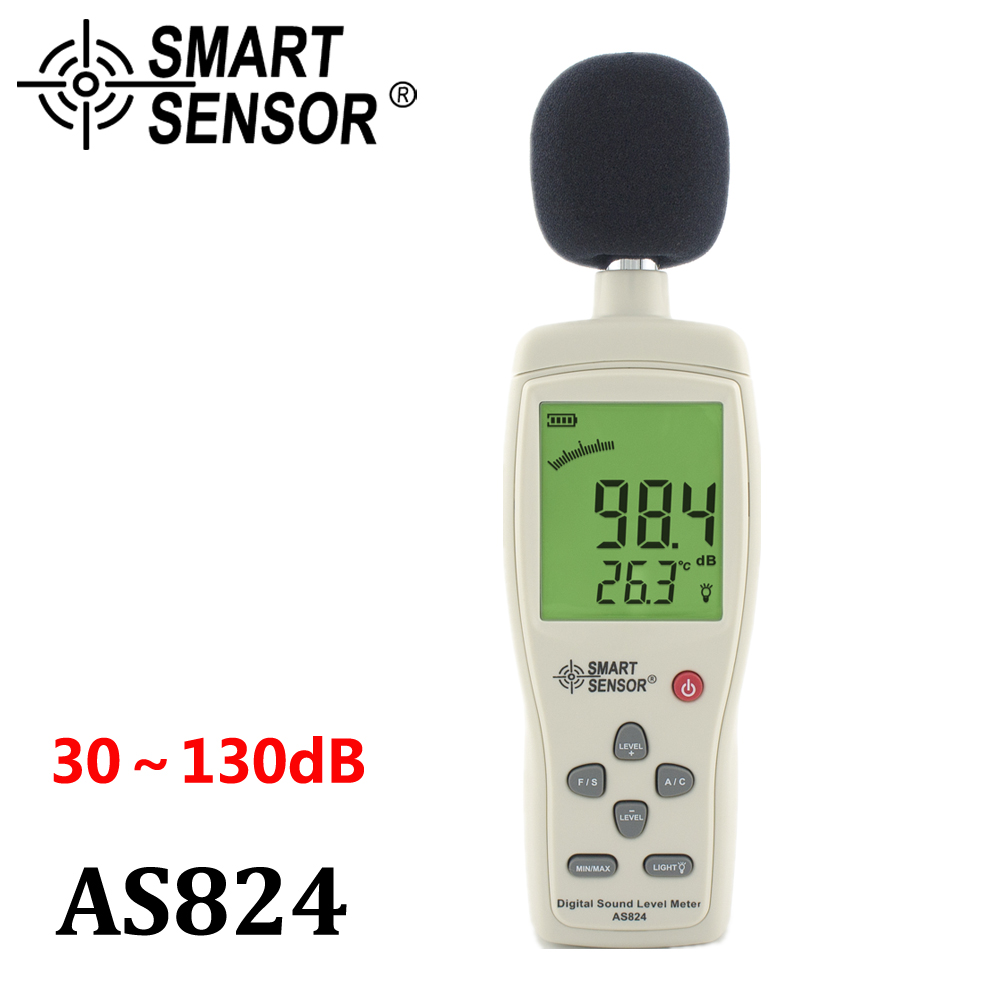 Digital Sound Level Meter / sound pressure level 30~130 dBA 35~130 dBC Noise meter Smart Sensor AS824 With Carry Box ar814 30 130 dba 35 130 dbc digital decibel meter