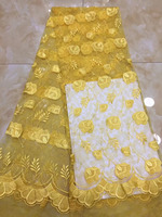 Wholesale African Sequins Lace Yellow High Quality French Lace Fabric 2018 African Mesh Lace Fabric For Nigerian Lace Wedding
