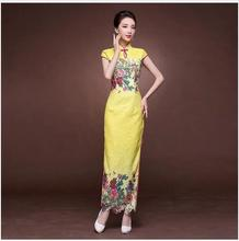 Fashion Long Qipao Lace Yellow Cheongsam Dress Chinese Traditional Wedding Dress Oriental Dresses Qi Pao 2018 Women Party wear