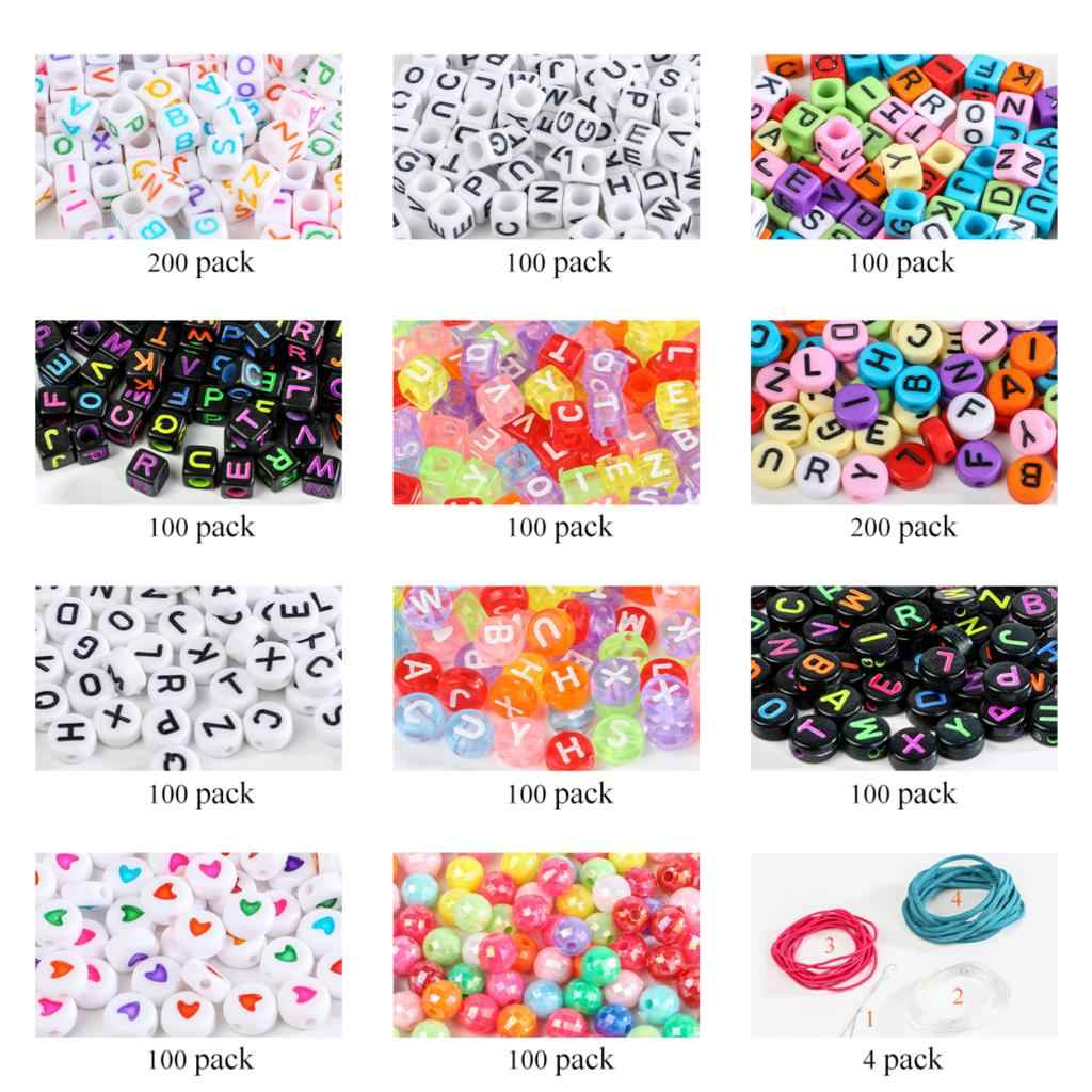 500-2400Pcs Multi-color Beads Round Acrylic Beads Carved Alphabets For Jewelry Making Cute Childen Gifts DIY Crafts 7x7mm