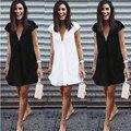 Mujeres Sexy Profundo Escote en v Vestidos de Verano Casual Plus Tamaño Corto Mini Vestido Negro Nuevo 2016