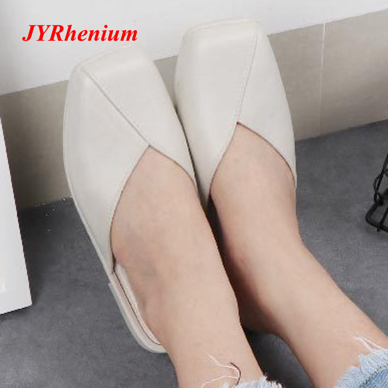 JYRhenium 2018 New Fashion Autumn Leather Slippers Women Indoor Shoes Woman Leather Home Slippers White Black Female Slippers new leather fashion women s cool slippers head layer cowhide women s slippers