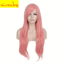 3163 32inch Pink Cosplay Party Wig Synthetic Long Straight Side Parting Wigs for Women Hair High Temperature Fiber Free Shipping long side parting synthetic fluffy deep wave wig