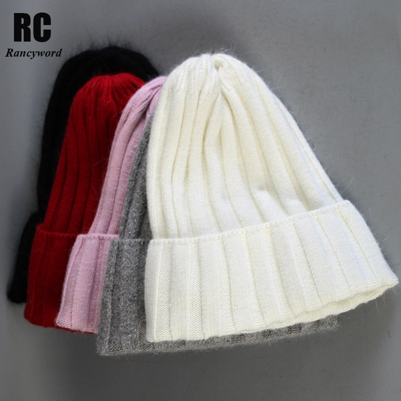 [Rancyword] Fashion Winter Hats For Women Knitted Wool Warm Angora Rabbit Fur Hat Beanie Female Pompom Beanies Skullies RC2056