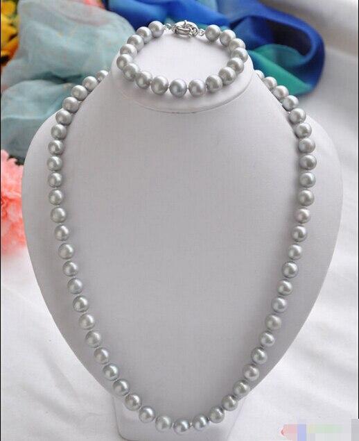 Livraison gratuite @ @ @ P4077 11 mm rond gris perle d'eau douce collier bracelet