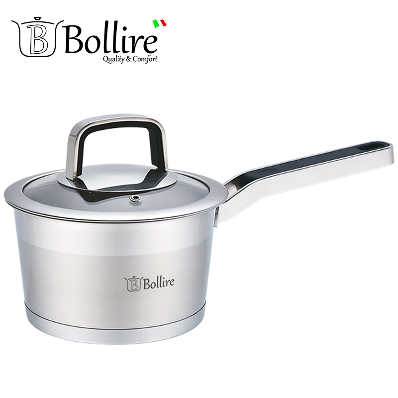 BR-2101 Ladle Bollire 1.6L 16cm Casserole Of High Quality Stainless Steel Cast handles in stainless steel with silicone inserts me 009 double stars stainless steel stud earrings silver pair