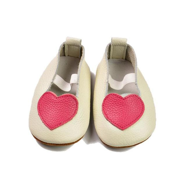 2016  lovely design Handmade heart Genuine Leather  baby shoes shallow Toddler elastic band baby mary jane ballet Shoes for kids