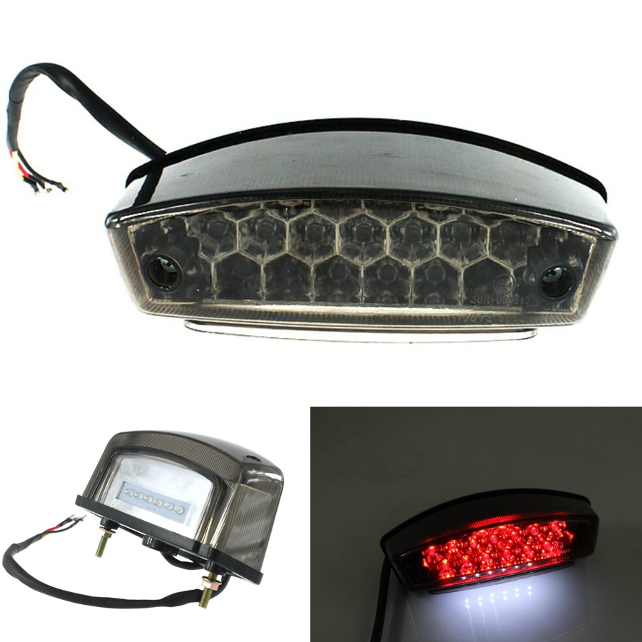 12V 21 LED Universal Motorcycle Tail Brake Light License Plate Lamp Smoke Lens Rear Stop Indicator For Ducati Honda Suzuki