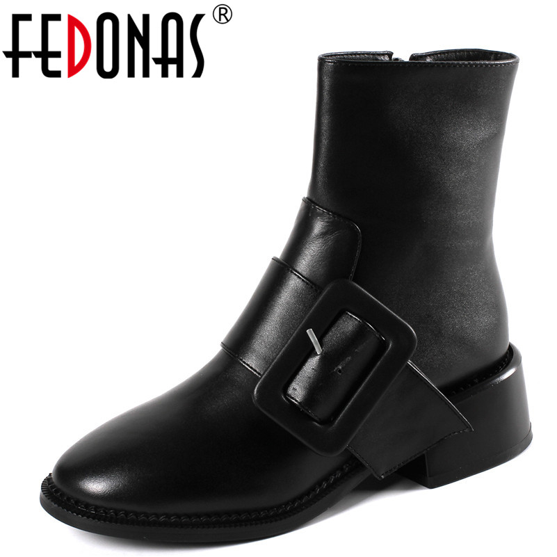 FEDONAS1Fashion Women Ankle Boots Buckle Decoration Genuine Leather High Heels Shoes Woman Autumn Winter Warm Brand Ladies BootsFEDONAS1Fashion Women Ankle Boots Buckle Decoration Genuine Leather High Heels Shoes Woman Autumn Winter Warm Brand Ladies Boots