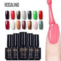 ROSALIND #1-30 Black Bottle 7ML UV Gel Nail Polish Pure Colors Long Lasting Manicure Gel Varnish Marcon Nail Art Paint Polishes