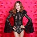 Novo estilo estrela da moda rendas gaze preto sexy dj feminina trajes cantor desgaste estágio mostrar para as mulheres ds levar dançarina bodysuit