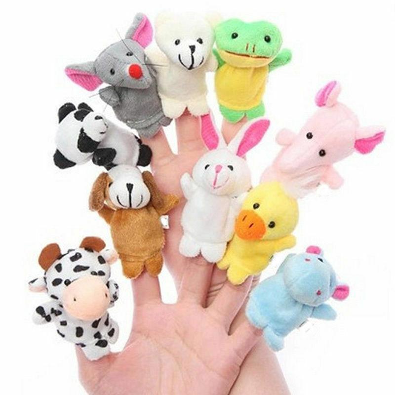 10pcs Finger Puppets Cloth Plush Doll Baby Cute Cartoon Animal Hand Educational Toys