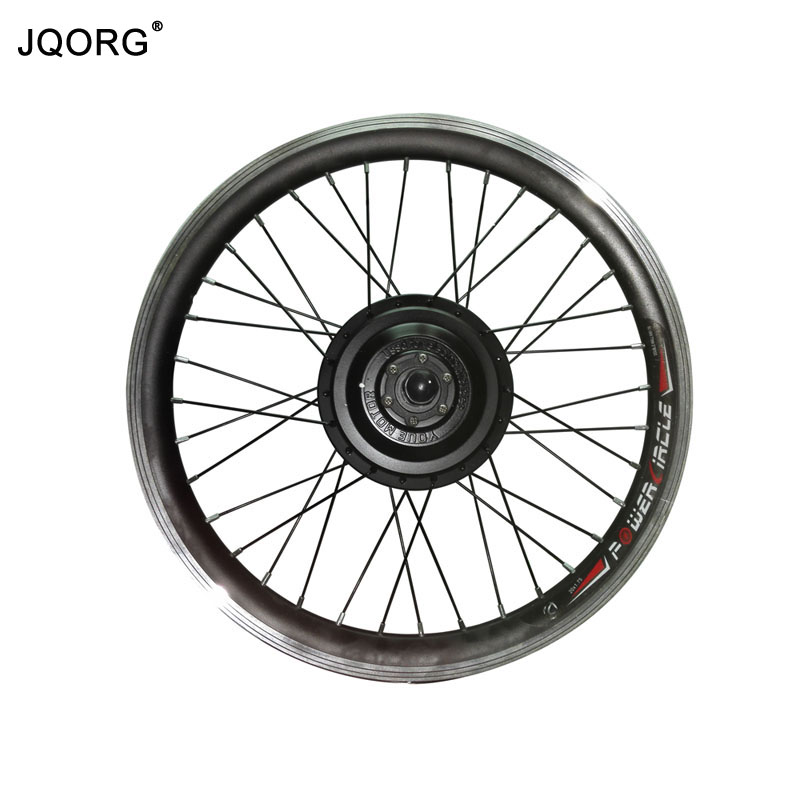 JQORG 20inch 36V/48V 250W/350W Brushless Direct Current Geared Hub Motor Black Color Electric Bicycle Front Wheel Motor With Rim 2017 top fashion ebike kit bafang 36v250w front geared direct motor for ebike brushless hub motor 8fun electric wheel