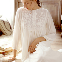 2018 NEW Vintage Princess Nightgowns Female Sweet Long Dress Cotton White Embroidery Nightdress Spring Women Sleepwear HZL26